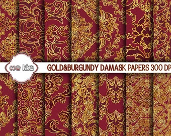 Digital Burgundy and Gold Damask Paper-Gold and Bordeaux Printable Paper, Gold Damask Background INSTANT DOWNLOAD-Personal or Commercial Use