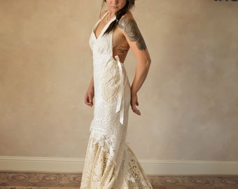 Halter wedding dress etsy salegypsy boho lace halter wedding gown boho lace wedding dress romantic lace junglespirit Choice Image