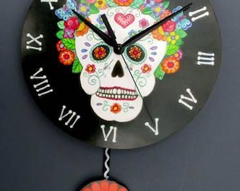 Dia de Los Muertos Calavera,Day of the Dead Skull pendulum clock with Bone  Roman Numerials