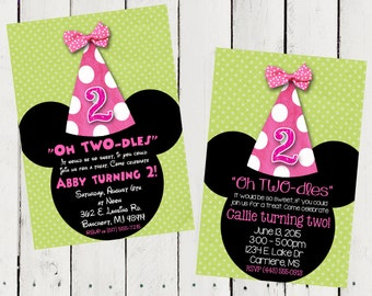 Pink and Green Minnie Mouse Custom Birthday Printable Invitations