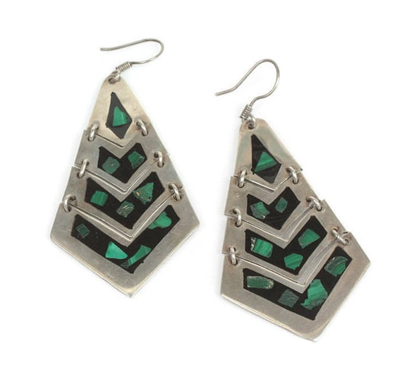 Malachite and Black Inlay Earrings Sterling Articulated Boho Dangle Taxco Mexico