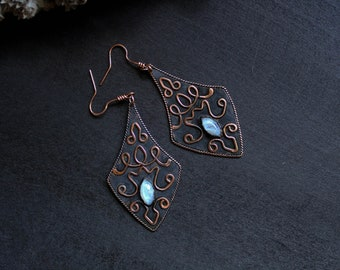 Birthday gifts-for-her Copper dangle earrings Moon stone drop earrings Natural stone statement earrings Antique copper earrings patina