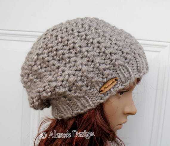 Knit Slouchy Hat Hand Knitted Beret Women's Hat Children's Ladies Winter Hat Handmade Tan Beige Blue Gray Black Christmas Gift