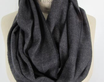 Dark infinity scarf Herringbone cowl Black Gray neck wrap soft flannel loop classic minimal simple circle unisex accessory preppy bespoke