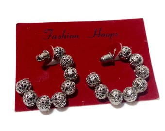 NOS Silvertone Filigree Ball Earrings