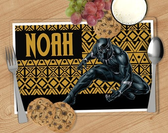Black Panther -  Kids Personalized Placemat, Customized Placemats for kids, Kids Placemat, Personalized Kids Gift
