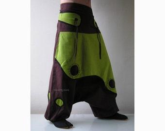 Aladdin Trousers - Afghani Harem Pants - Psy - Rave - Cotton - Men - Women - Primary colour Brown
