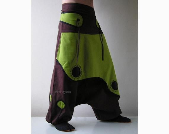 Aladdin Trousers - Afghani Harem Pants - Psy - Rave - Cotton - Men - Women - Primary colour Brown Pc7KF9ljn