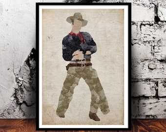 John Wayne Duke cowboy A4 print Rio Bravo El Dorado American True Grit western film texas gun