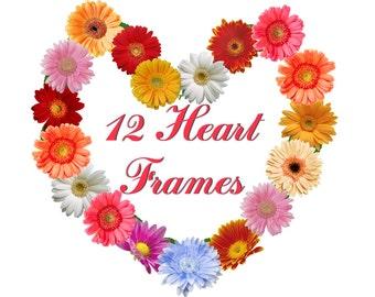 12 Digital Floral Hearts frames, scrapbooking, wedding flower clipart, bithday gift, Printable, Digital Collage, Instant Download, set 6