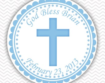 Cross Blue Baptism Christening First Holy Communion - Personalized Stickers, Party Favor Tags, Thank You Tags, Gift Tags