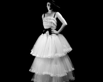 1947 - White Tulle Full Skirt Couture Wedding Dress  - Made to Order - FREE SHIPPING WORLDWIDE