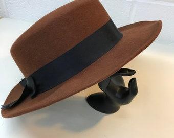 Wool Brown Doeskin Felt Women's Brimmed Hat With Black Bow