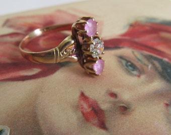 1800s Antique Victorian Ring Pink Tourmaline Diamond Ring  Victorian Ring Pink Victorian Ring Pink Garnet Pink Topaz Victorian Ring Sz 5