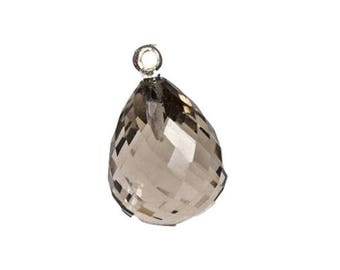 Sterling Silver with Smoky Quartz Faceted Charm - Smoky Quartz - Quartz Jewelry - Smoky Quartz Pendants - Silver and Quartz -Sterling Silver