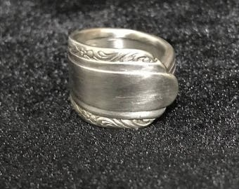 Handmade vintage sterling silver/silver plate silverware ring size 7 3/4