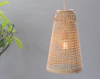 Bamboo Pendant Light - Handmade Wooden Pendant Lamp Hanging Repurposed Fishing Trap Basket, Hanging Natural Woven E27 Boho Rustic Lamp UK US