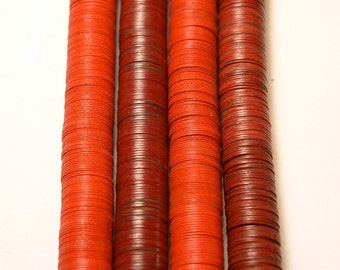 15mm rot Vulcanic Phono Record Disc Heishi African Trade Beads (4 Zoll)