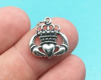Sterling Silver Claddagh Charm, Love, Friendship, Irish, Loyalty, Heart, .925 Silver, DIY, Bracelet Charms, (C324)