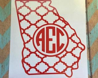 Georgia Monogram Decal, Car Decal, Vinyl Decal, Vinyl Monogram, Wall Decal; Quarterfoil Monogram Decal; Personalize Decal