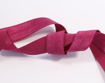 1m (1.09 yd) Fold Over Elastic (FOE) - Burgundy - 15 mm Wide