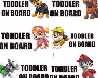 Paw Patrol Car Decal. Baby Toddler on Board