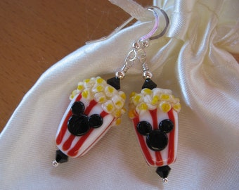 Mickey Mouse Popcorn Earrings, Popcorn Boxes, Red White Stripes, Handmade Lampwork Beads, Disney Earrings, Disney Cruise, Disney Jewelry