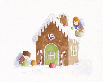 ORIGINAL Gingerbread House - Watercolor Painting
