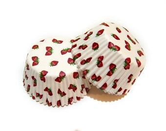 Red Strawberry White Cupcake Liners (50)