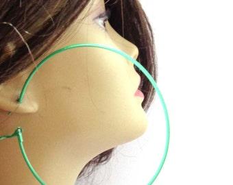 Green hoop earrings Classic Hoop Earrings Green Earrings Thin Hoop Earrings 3.5 inch Hoops