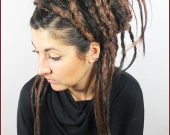 Dark & Medium Brown Ombre Dreads Falls. Crocheted and Natural, 20 Inches.