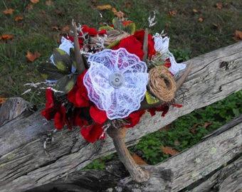 Antler Burlap and Lace Bridal Bouquet,Shotgun Shell Bouquet,Rustic Red Bouquet,Hunting Bouquet,Christmas Wedding Bouquet