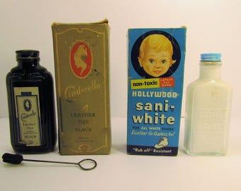 Lot of Two bottles of Antique/Vintage(?) Shoe Dye