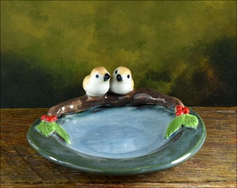 Ceramic bird dish, hand crafted Australian pottery / ring dish / teabag holder / trinket dish blue green dish