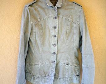 Vintage Jacket / Vintage Army Jacket/Mandarin Neck /Army Green / Boho Jacket / Hipster Jacket / Gypsy Jacket / Festival Jacket / 90s Fashion