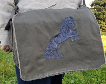 Rearing Friesian embroidered messenger bag