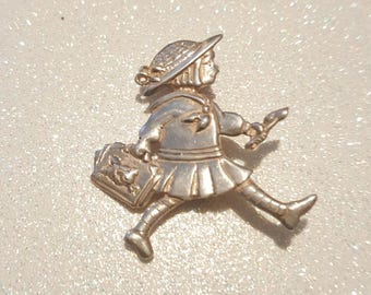 Girl Pin brooch signed ME .925 Sterling silver