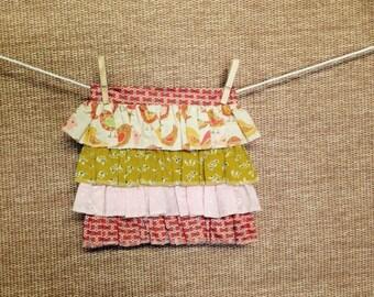 Girl's tea party apron - Ruffles and birds