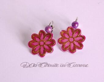 Flower, gold and plum, plum Pearl Earrings