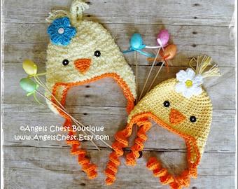 Crochet CHICK-A-DEE BIRD Beanie Earflap Hat Pdf Pattern Sizes Newborn to Adult Boutique Design - No. 68 by AngelsChest