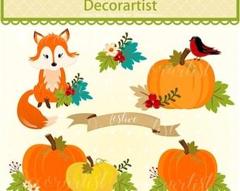 ON SALE Pumpkin clip art, Autumn clip art, Fox clip art, Pumpkins clip art, fall clip art, thanksgiving clip art, printable, scrapbooking