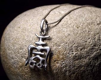 Japanese Kanji symbol silver pendant Japanese symbol Ethnic Luck amulet Japanese charm necklace Lucky talisman Hieroglyphs Spiritual jewelry