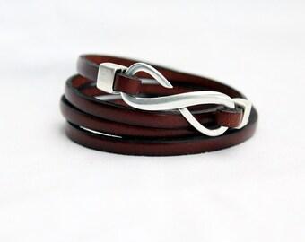 Infinity Wrap Leather Bracelet for men, for women, 4x Wrap, Womens Bracelet, Genuine Leather