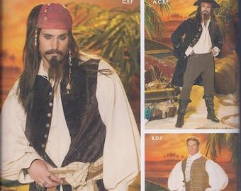 Simplicity 4923 Mens Pirate Costume Coat Vest Knee Breeches Shirt Cravat UNCUT Sewing Pattern