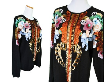 Vintage 80's Abstract Sequin Fuzzy Black Oversize Sweater