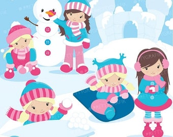 80% OFF SALE Snow girls clipart commercial use, vector graphics, digital clip art, digital images - CL624