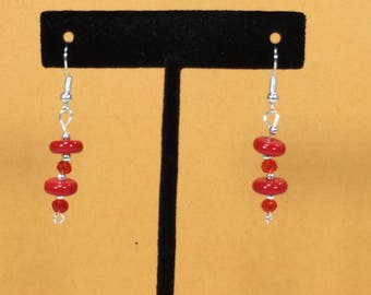 Mothers Day SALE 30% Coral and Red Quartz Earrings, Coral  Gemstone Earrings, Quartz Earrings, gemstone Earrings,     April Birthstone