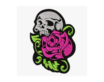 Skull with the rose embroidery patch