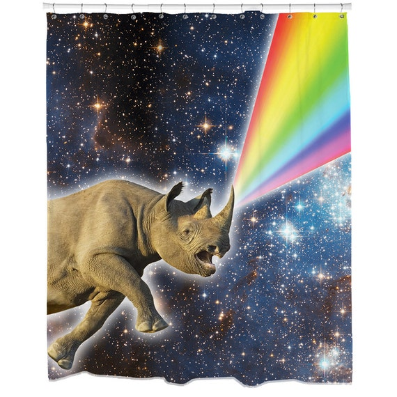 Rhino Decor Rhino Galaxy Shower Curtain Space Shower