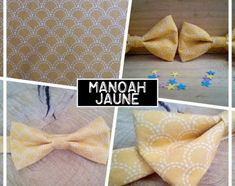 "Collection ""Manoah"" yellow bow tie adult teen child baby wave Japanese/geometric"